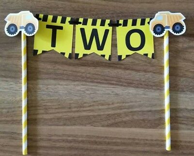 AU12.95 • Buy Construction Party Trucks 2nd Birthday Bunting Banner Cake Topper Favours