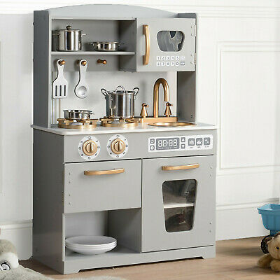 Kids Play Kitchen Wooden Pretend Play Toy Boys Girls Role Playset Grey/ Gold • 99.59£