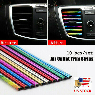 $4.99 • Buy 10 Pcs Car Air Conditioner Decoration Strip Accessories Colorful Air Outlet US!