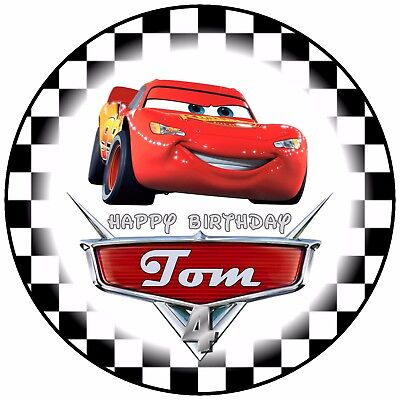 7.5  Disney Cars Lightning McQueen Birthday Edible Personalised Cake Topper • 4.90£