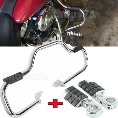 $156.95 • Buy Mustache Engine Protect Guard Crash Bars+Clamps Foot Pegs For 06-UP Harley Dyna