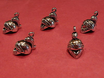 Tibetan Silver Soldier/Knights Helmet 3d Charms 5 Per Pack  • 1.45£