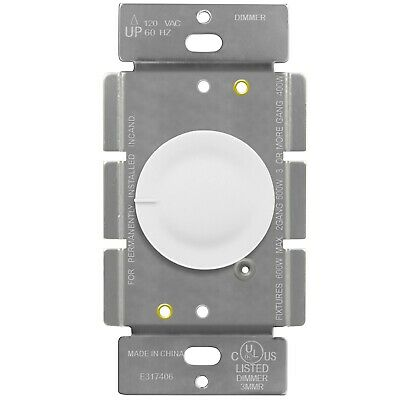 Rotary Dimmer Lighted Switch 3 Way Push On Off Incandescent Control 600W 120VAC • 7.99$