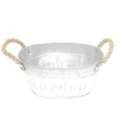 20cm Metal Oval Planter 'Garden' With Rope Handles Grey/White Flowers Herbs • 7.95£