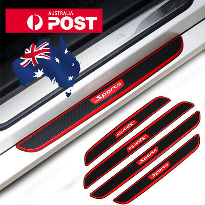 AU31.94 • Buy Black Rubber Carbon Car Door Scuff Sill Cover Plate Panel Step Protector Sticker