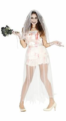 Womens Zombie Undead Bride Halloween Fancy Dress Costume Ladies Outfit • 17.50£