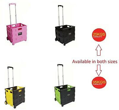 Folding Cart Shopping Trolley Boot Cart Storage Box Wheels Foldable Crate Car • 12.99£