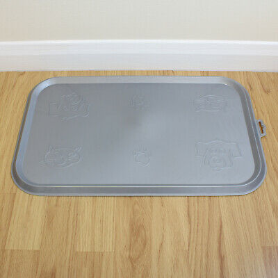 Grey Place Mat For Pet Food Bowl & Dish Cat/Kitten/Dog/Puppy Rubber Feeding Tray • 5.49£
