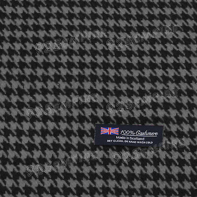 $6.99 • Buy Men's 100% CASHMERE Scarf Houndstooth Black/Gray MADE IN SCOTLAND