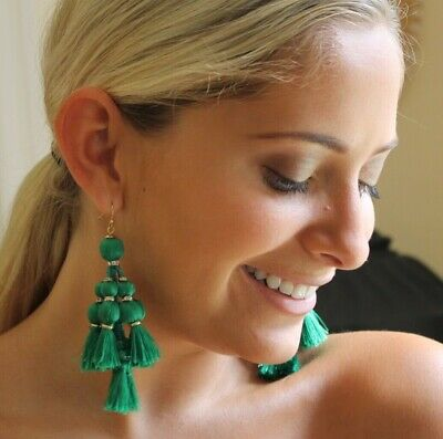 $ CDN191.37 • Buy NWT KATE SPADE NEW YORK Pretty Poms Tassel Statement Earrings GREEN - RARE!
