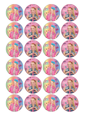 AU9.95 • Buy 24 X Large Jojo Siwa Edible Cupcake Toppers Birthday Party Cake Decoration Image