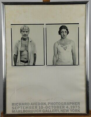 $395 • Buy Vintage 1975 Richard Avedon Singed NYC Gallery Poster Willem De Kooning Rare