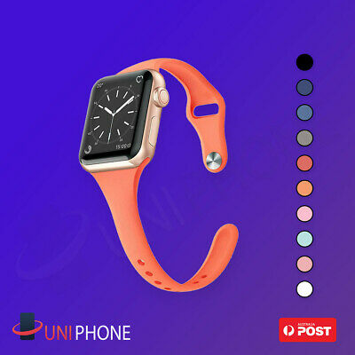 AU7.99 • Buy 38 40 42 44 Sports Silicone Bracelet Strap Band SLIM Apple Watch SE 6 5 4 3 2 1