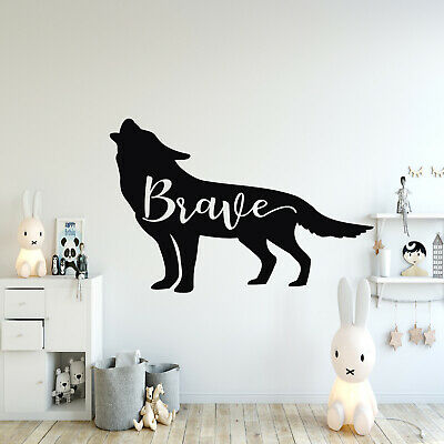 Brave Wolf Childrens Nordic Nursery Wall Sticker | Scandinavian Decal Art V051 • 17.11£