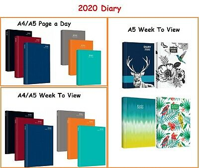 2020 A4/A5, Yearly/Academic, Day A Page/Week To View Hard Cover Diary Office • 2.40£