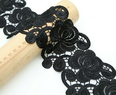 1 Yard Black Guipure Lace Lace Trim 8 Cm Satin Thread Sew On  • 3.99£
