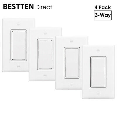 [4 Pack] BESTTEN 3-Way Decor Light Switch With Wall Plate 15A 120/277V UL Listed • 17.99$