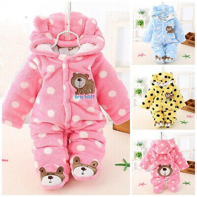 AU19.99 • Buy Infant Baby Boy Girls Winter Warm Hooded Romper Jumpsuit Cartoon Clothes Outfits