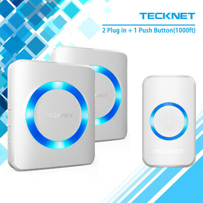 TeckNet Wireless Doorbell Twin Wall UK Plug-in Cordless Door Chime Kit 52 Chimes • 14.95£