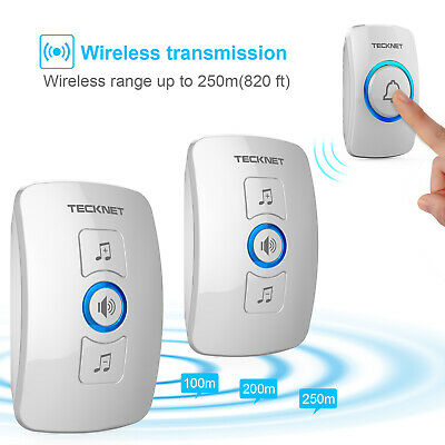 TeckNet Wireless Waterproof Doorbell Twin UK Plug-in Cordless Door Chime Bell • 14.98£