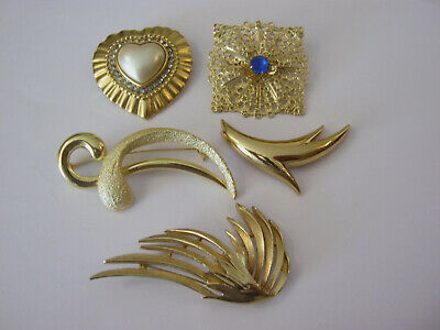$ CDN19 • Buy Small Lot Of 5 Gold Tone Fashion Brooches, Some Rhinestones, 5 Pretty Brooches