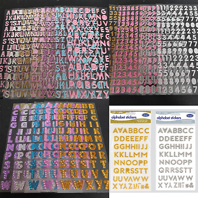 £2.15 • Buy Self Adhesive Stickers Alphabet Letter Number Bubble Glitter Vinyl Card Wedding