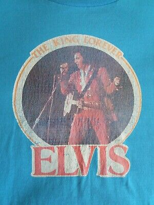 $ CDN48.77 • Buy Vintage 70s ELVIS The King Forever Tribute Iron On Blue T-shirt XL Rock N' Roll