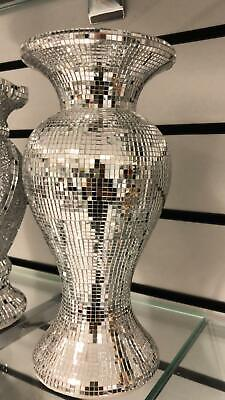 AMAZING SILVER MIRRORED SPARKLE VASE, LOVELY SPECTACULAR 25cm Tall • 22.99£
