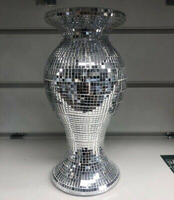 Amazing Italian Style Silver Mirrored Sparkle Vase, Lovely Spectacular 25cm Tall • 19.99£