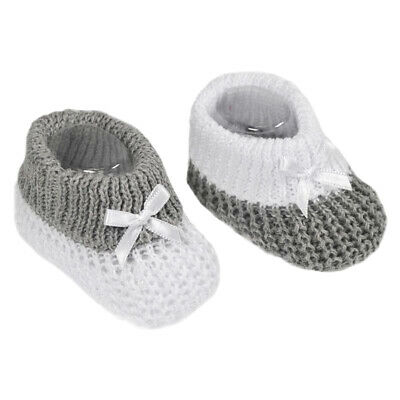 Newborn Baby Booties Knitted Bow Spanish Style Grey White Boys Girls Soft Touch • 3.25£
