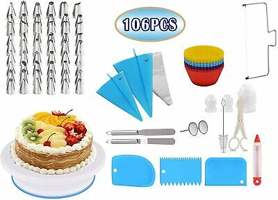 £14.99 • Buy 106 PCS Cake Decorating Pastry Tool Kit/ Rotating Cake Stand With Spatula + More