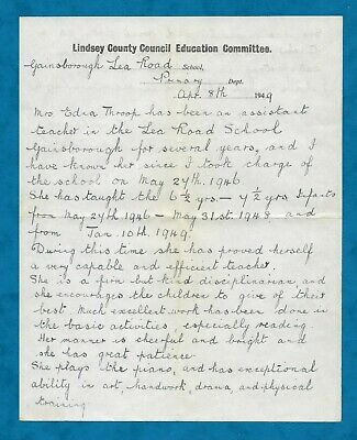1949 Reference Letter From Head Mistress Lea Road School, Gainsborough, Lincs • 4.75£