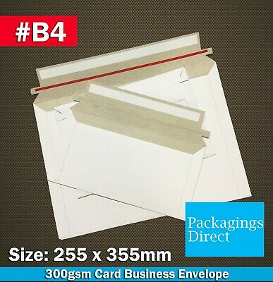 AU32.50 • Buy Card Mailer #B4 255x355mm Tough Business Envelope 300GSM  B4 Size White Plain