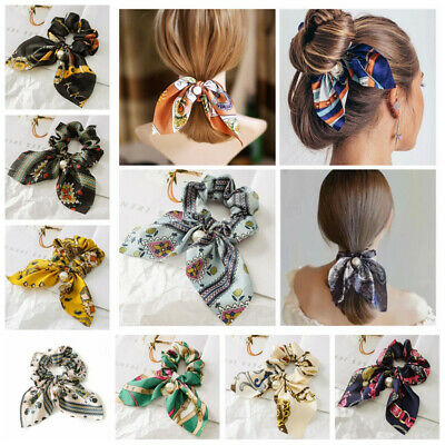 Solid Floral Bow Scrunchie Hair Band Elastic Hair Ties Rope Scarf Accessories • 1.39$