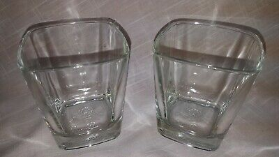Crown Royal Square Lowball Glasses With Embossed Crown On Pillow Logo Italy  • 11$