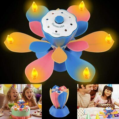 $ CDN23.96 • Buy LED Sparkling Birthday Party Candle Lotus Flameless Music Cake Topper Decoration