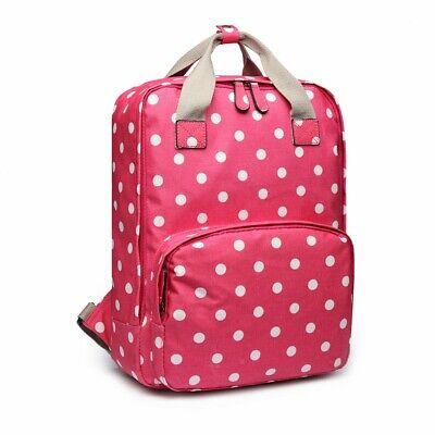 The Olive House® Womens Polka Dot Spotty Matte Oilcloth Laptop Rucksack Pink • 29.99£