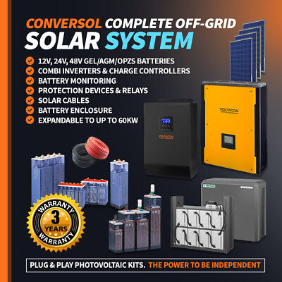 £2990 • Buy 3kW Solar Inverter/Charger Off Grid System.AGM Batteries. Solar Panels 2500W