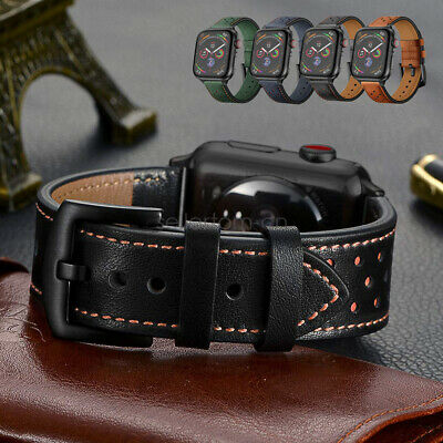 AU16.99 • Buy Apple Watch Band, IWatch Series 5 4 3 Dots Genuine Leather Strap 42/44mm 38/40mm