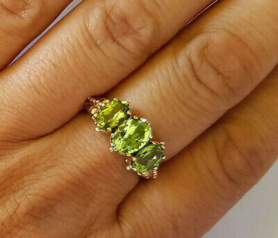 AU456.18 • Buy R203 Genuine 9ct Yellow Gold Natural Peridot 3-stone Trilogy Ring In Your Size