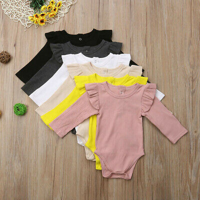 AU14.26 • Buy Toddler Baby Kids Girls Boys Long Sleeve Ruched Solid Romper Bodysuit Clothes AU