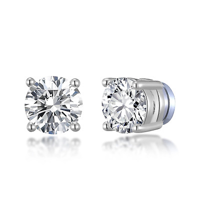 £5.95 • Buy Silver Round Magnetic Clip On Stud Earrings Created With Swarovski® Crystals