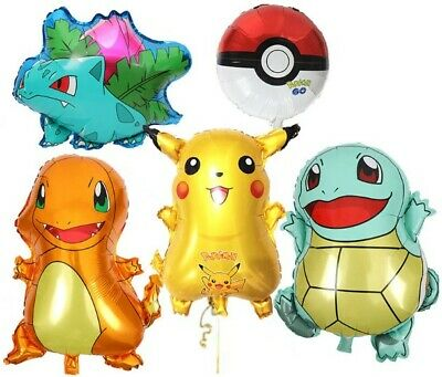 Pokemon Foil Balloons Birthday Party Pikachu Squirtle Ivysaur Cupcake Toppers  • 2.99£