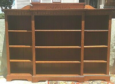 $1450 • Buy Antique Large Oak Antique Arts & Crafts Open Bookcase Adjustable Shelves Unusual
