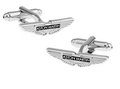 Silver Aston Martin Cufflinks Formal Wear For Shirt Suit Sports Car Logo  • 17.99£
