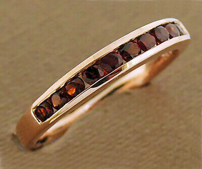 AU320.19 • Buy R165 Genuine 9K 9ct Gold Natural Garnet Ring Eternity Wedding Band Made To Size
