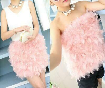 £35.89 • Buy Fashion Womens Tube Dress Ostrich Feather Fur Skirts Hairy Chest Wrap  6 Colors