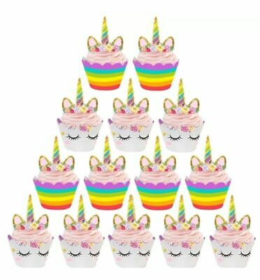 AU6.95 • Buy Unicorn Cupcake Toppers Wrappers 24 Pieces Birthday Party Cake Lolly Loot Bag