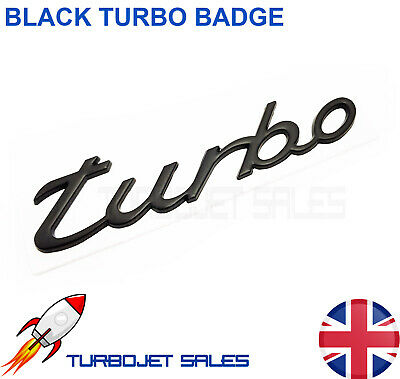 ITALIC BLACK TURBO CAR BADGE (METAL) - Universal High Quality Car Van Badge  • 3.99£