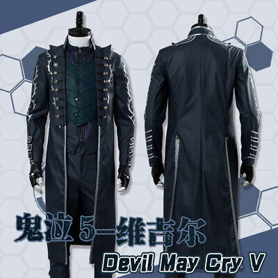 $246.28 • Buy Devil May Cry 5 Vergil Cosplay Costume Mens Suit Halloween Full Set Outfits New